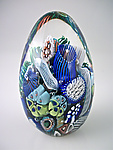 Ocean Reef Paperweight Egg by Michael Egan (Art Glass Paperweight)