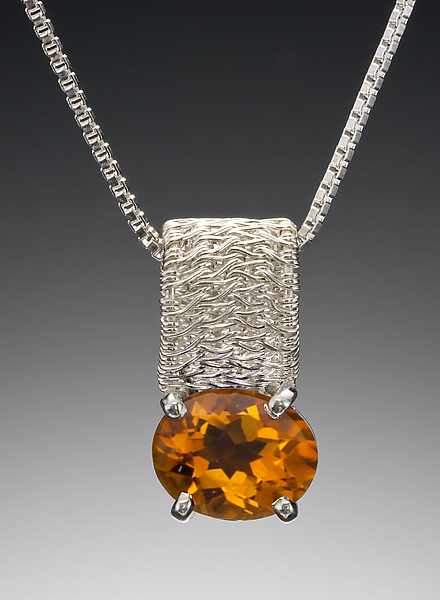 Sigma Oval Pendant with Citrine