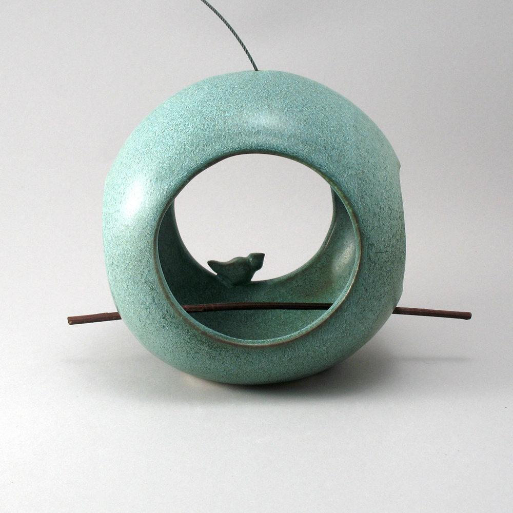 Round Bird Feeder By Cheryl Wolff Ceramic Bird Feeder