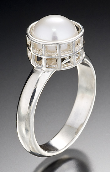 Silver Caged Pearl Ring