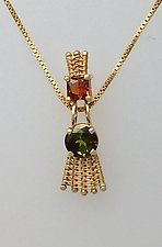 Sticks-n-Stones Pendant Necklace with Orange and Green Tourmaline by Marie Scarpa (Gold & Stone Necklace)