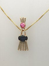 Sticks-n-Stones Pendant with Pink Tourmaline and Blue Sapphire by Marie Scarpa (Gold & Stone Necklace)