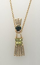 Sticks-n-Stones Pendant Necklace with Green and Yellow Tourmaline by Marie Scarpa (Gold & Stone Necklace)