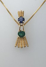 Sticks-n-Stones Pendant Necklace with Green Tourmaline and Blue Sapphire by Marie Scarpa (Gold & Stone Necklace)