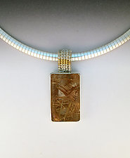 Sigma Woven Bale Pendant Necklace with Rectangular Rutilated Quartz by Marie Scarpa (Silver & Stone Necklace)