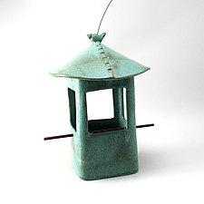 Stoneware Bird Feeder with Bird by Cheryl Wolff (Ceramic Bird Feeder)