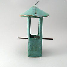 Patina Green Bird Feeder with Bird by Cheryl Wolff (Ceramic Bird Feeder)