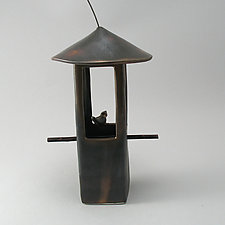 Bird Feeder with Bird by Cheryl Wolff (Ceramic Bird Feeder)