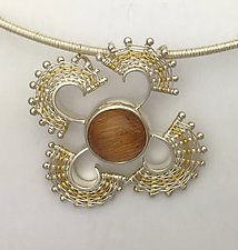 Fandango Silver Pendant with Rutillated Quartz by Marie Scarpa (Gold, Silver & Stone Necklace)