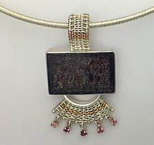 Sigma Pendant with Pink Sapphires by Marie Scarpa (Gold, Silver & Stone Necklace)
