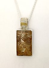 Sigma Silver Pendant with Rutillated Quartz by Marie Scarpa (Gold, Silver & Stone Necklace)