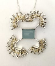 Fandango Silver Pendant with Aquamarine by Marie Scarpa (Gold, Silver & Stone Necklace)