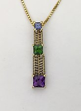 Triple Square woven gold pendant with gemstones by Marie Scarpa (Gold & Stone Necklace)