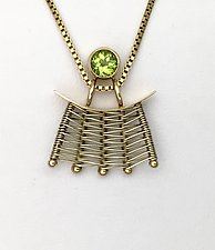 Totem Small 14K Woven Pendant with Peridot by Marie Scarpa (Gold & Stone Necklace)
