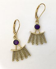 Totem 14K Leverback Earrings with Amethyst by Marie Scarpa (Gold & Stone Earrings)