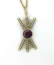 Totem 14K Small Pendant Necklace with Garnet by Marie Scarpa (Gold & Stone Necklace)