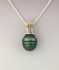 Sigma Silver/18K Tahitian Pearl pendant by Marie Scarpa (Gold, Silver & Pearl Necklace)