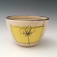 Scribble Flower Dessert Bowl by Whitney Smith (Ceramic Bowl)