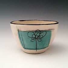 Scribble Flower Dessert Bowl by Whitney Smith (Ceramic Bowl)