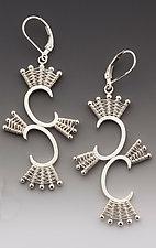 Double Scroll Silver Leverback Earrings by Marie Scarpa (Silver Earrings)