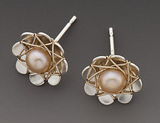 Small Daisy Post Earrings by Marie Scarpa (Silver & Pearl Earrings)
