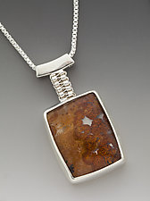 Zenbox Pendant with Pyrite in Quartz by Marie Scarpa (Silver & Stone Necklace)
