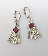 Woven Silver Fan Leverback Earrings with Garnet by Marie Scarpa (Silver & Stone Earrings)