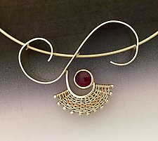 Nine Ladies Dancing Pendant with Rhodolite Garnet by Marie Scarpa (Gold, Silver & Stone Necklace)