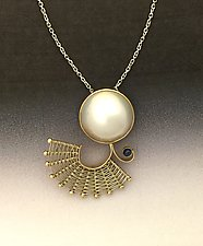 Fandango Gold Pendant with Mabe Pearl and Sapphire by Marie Scarpa (Gold, Silver & Stone Necklace)