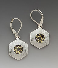 Spyrosilver Hexagon Leverback Earrings with 14K woven wire by Marie Scarpa (Gold & Silver Earrings)