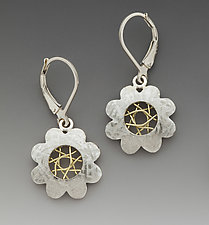 Spyro Silver Flower Leverback Earrings by Marie Scarpa (Gold & Silver Earrings)