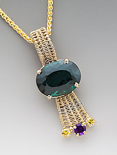 Green Tourmaline Sigma Pendant by Marie Scarpa (Gold & Stone Necklace)