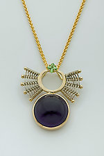 Scroll 14K Pendant with Amethyst and Tsavorite Garnet by Marie Scarpa (Gold & Stone Necklace)