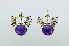 Scroll Leverback Earrings with Amethyst Cabochon and Tsavorite Garnet by Marie Scarpa (Gold & Stone Earrings)
