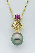 Mesh Diamond Pendant with Tahitian Pearl and Rhodolite Garnet by Marie Scarpa (Gold & Stone Necklace)