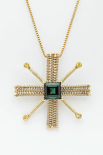 Foursquare 14K Pendant with Green Tourmaline and Yellow Sapphires by Marie Scarpa (Gold & Stone Necklace)
