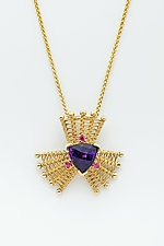 Iris 14K Pendant with Amethyst and Red Spinel by Marie Scarpa (Gold & Stone Necklace)