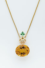Mesh 14k Diamond Pendant with Fancy Citrine and Tsavorite Garnet by Marie Scarpa (Jewelry Necklaces)