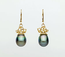 Mesh 14K Ribbon Lever-Back Earring with Drop Tahitian Pearls by Marie Scarpa (Gold & Stone Earrings)