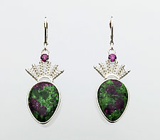 Scroll Silver Lever-Back with Ruby in Zoisite and Rhodolite Garnet by Marie Scarpa (Silver & Stone Earrings)