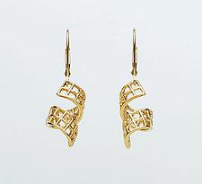 Mesh 14K Curled Ribbon Lever-Back Earrings by Marie Scarpa (Gold Earrings)