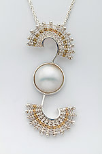 Fandango Silver Double Swirl Pendant with Pearl by Marie Scarpa (Gold, Silver & Stone Necklace)