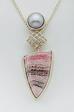 Mesh Diamond Silver Pendant with Rhodochrosite and Pink Pearl by Marie Scarpa (Silver & Stone Necklace)