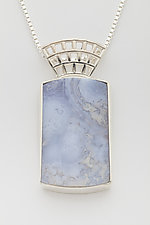 Mesh Silver Heavy Pendant with Blue Lace Agate by Marie Scarpa (Silver & Stone Necklace)