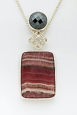 Mesh Silver Diamond Pendant with Rhodochrosite and Hematite by Marie Scarpa (Silver & Stone Necklace)