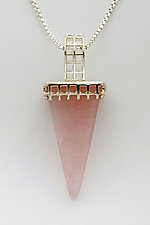 Mesh Silver Pendant with Rose Quartz Obelisk by Marie Scarpa (Silver & Stone Necklace)