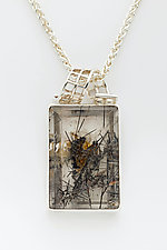 Mesh Ribbon Silver Pendant with lodolite in Quartz by Marie Scarpa (Silver & Stone Necklace)