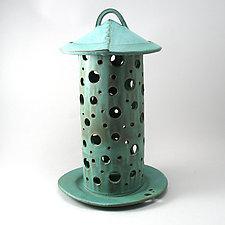 Green Garden Lantern by Cheryl Wolff (Ceramic Candleholder)
