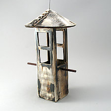 Textured Bird Feeder in Metallic Bronze by Cheryl Wolff (Ceramic Bird Feeder)