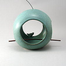 Round Bird Feeder by Cheryl Wolff (Ceramic Bird Feeder)